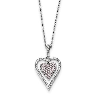 925 Sterling Silver Rhodium-plated Lobster Claw Closure and Cubic Zirconia Brilliant Embers Heart Necklace - 18 Inch