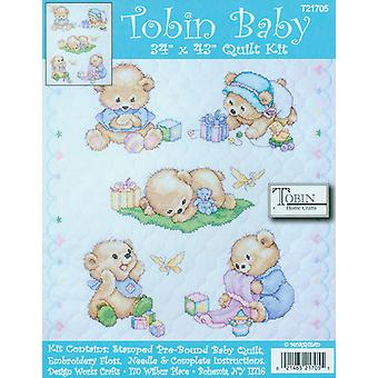 Baby Bears Quilt Stamped Cross Stitch Kit 34