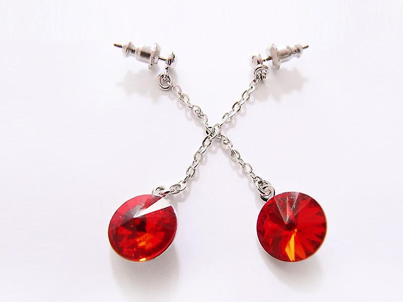 Red Crystal drop earrings EMB 14.5