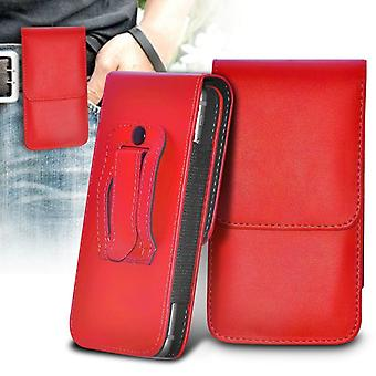 ONX3 (Red) BlackBerry DTEK50 / BlackBerry Neon Case High Quality Faux Leather Vertical Executive Pouch Holster Belt Clip Cover Case