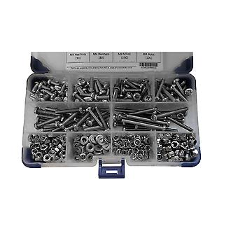255 Piece M6 Zinc Plated Pan Pozi Machine Screws with Nuts and Washers