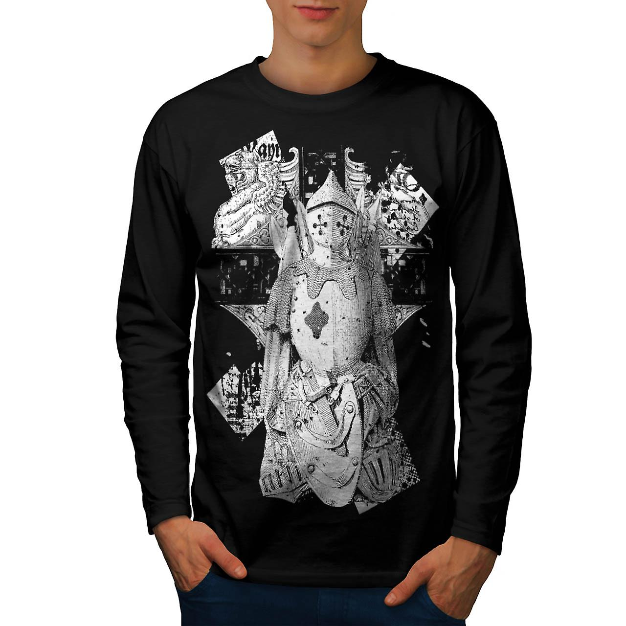 Dappere krijger Knight Dark Armour mannen zwart lange mouw T-shirt | Wellcoda