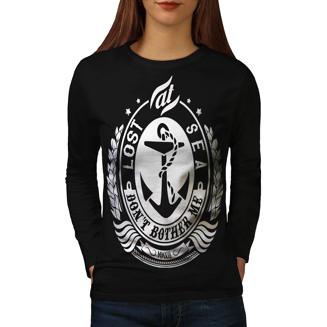 Lost At Sea Boat Ship Bother Me Women Black Long Sleeve T-shirt | Wellcoda
