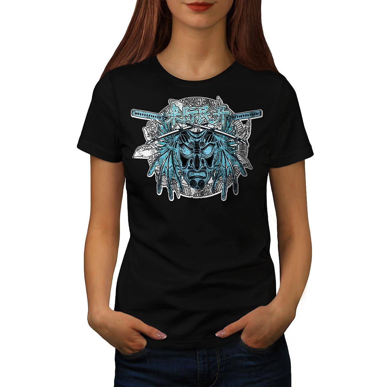 Chinese Samurai Mask Parade Mob Women Black T-shirt | Wellcoda