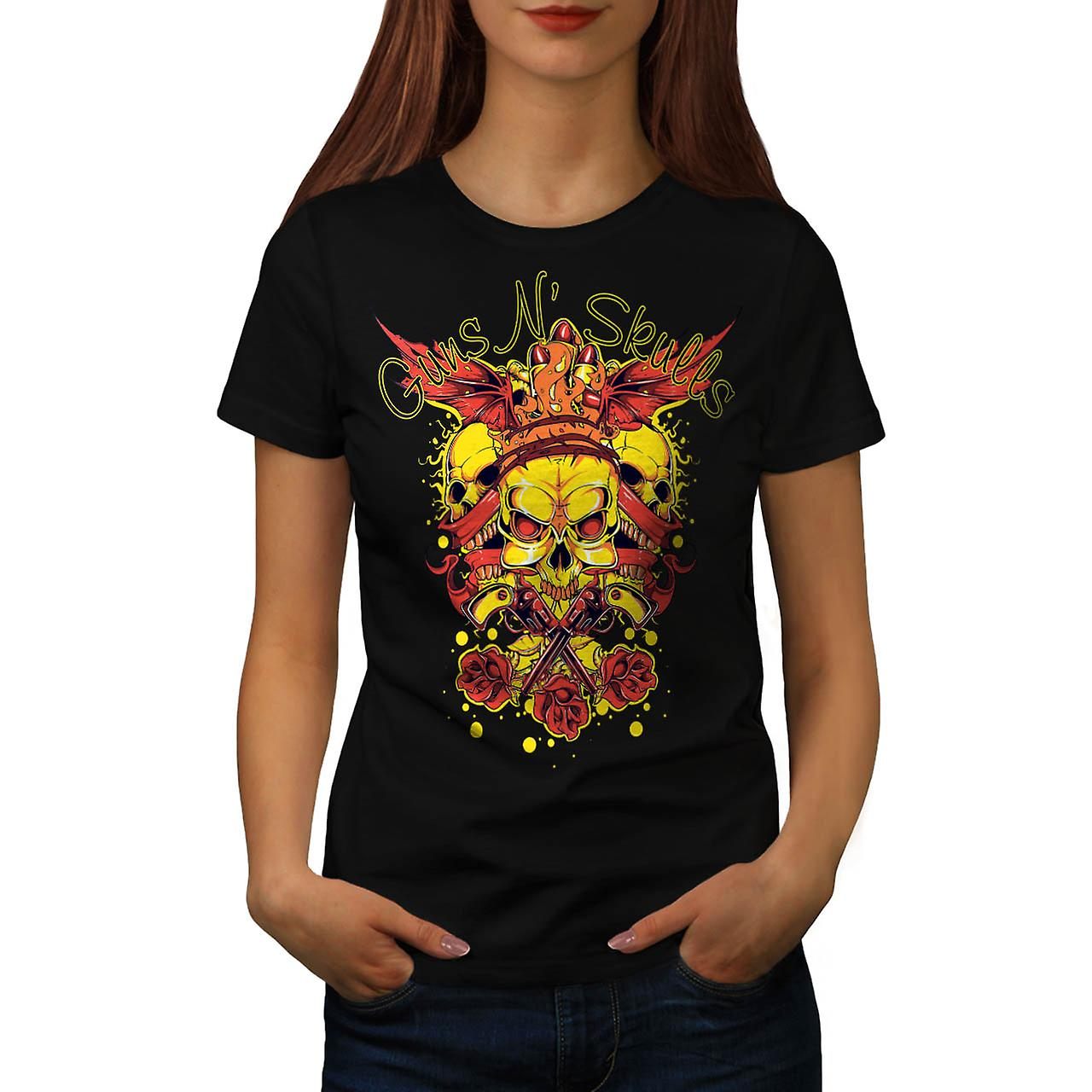 Guns And Skulls Brawl King Demon Women Black T-shirt | Wellcoda