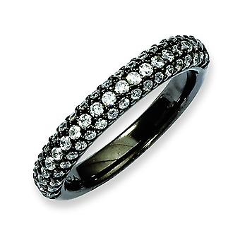 Sterling Silver Black Plated With Cubic Zirconia Ring - Ring Size: 6 to 8