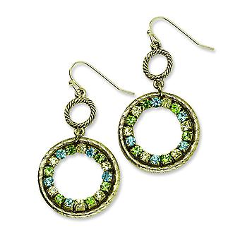 Brass-tone Blue Green and Yellow Crystal Circle Drop Earrings