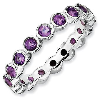 Sterling Silver Stackable Expressions Amethyst Ring - Ring Size: 5 to 10