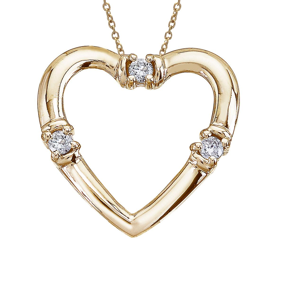 14K Yellow Gold and Diamond Open Heart Pendant with 18