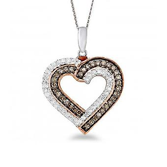 10K White Gold Chocolate Heart Pendant (0.25 Cttw, G-H Color, I2-I3 Clarity)