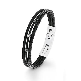 s.Oliver jewel mens bracelet stainless steel leather 2012576