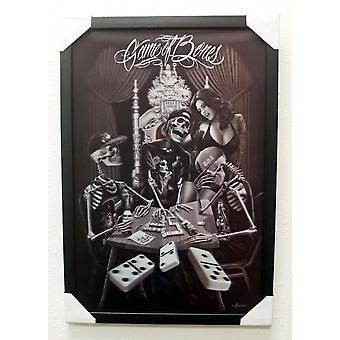 David Gonzales Art Game Of Bones 3D Framed Artwork Decoration Dominoes Skeleton