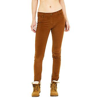 Slim Cords Velour Trousers - Brown