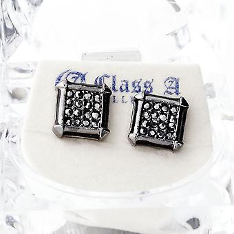 Black bling iced out earrings - PAVE SQUARE
