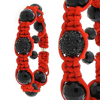 Unisex PAVE ball bracelet - ONE red / black