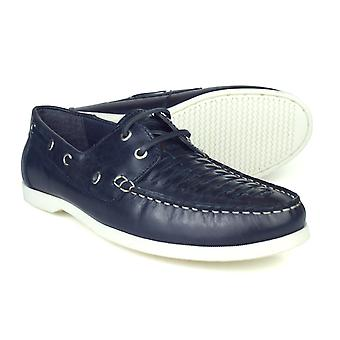 Silver Street London Crew Mens Navy Leather Boat Shoes