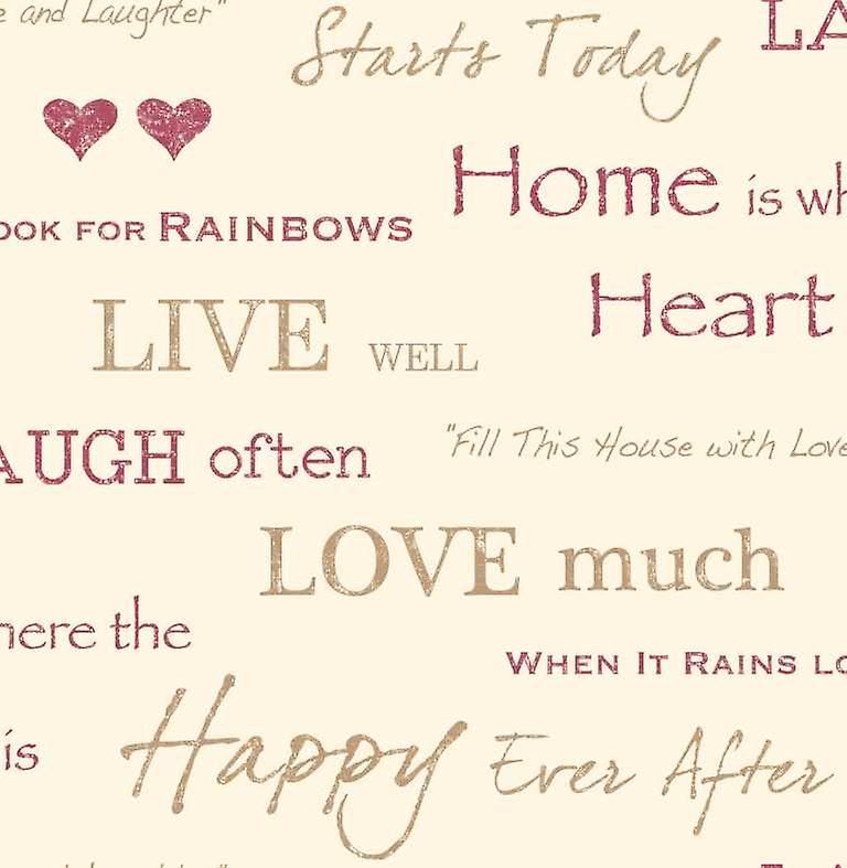 Fine Decor Red Wall Words Quotes Live Love Laugh Design Feature Wallpaper