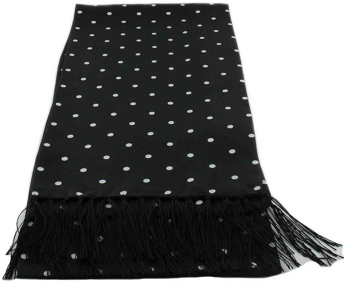 Michelsons of London Polka Dot Narrow Silk Scarf - Black