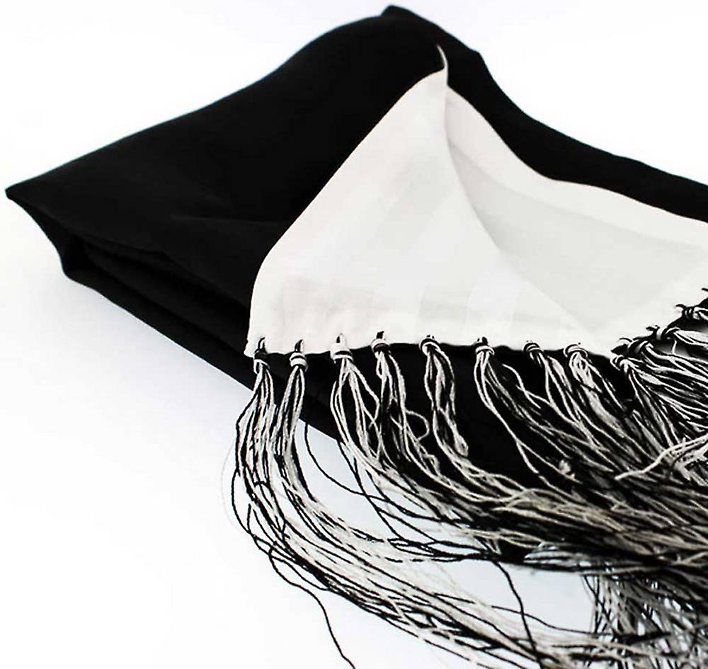 David Van Hagen Plain Reversible Silk Evening Scarf - Black/White