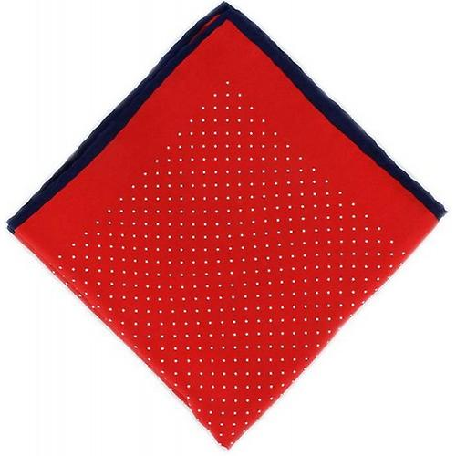 Michelsons of London Pin Dot with Border Silk Handkerchief  - Red/Navy