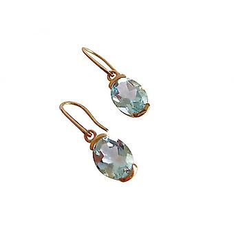 Ladies - earrings - 9 Carat (375) Gold - topaz - blue - oval - faceted - 12 mm