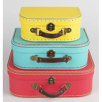 Bright Retro Mini Suitcases x 3 - Wedding / Home Decoration Red Blue Yellow