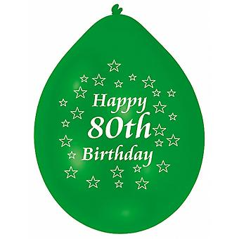 Amscan Happy 80th Birthday Multicoloured Party Balloons (Pack Of 10)