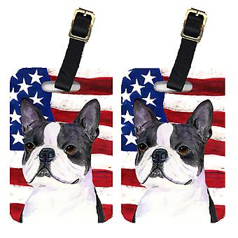 Pair of USA American Flag with Boston Terrier Luggage Tags