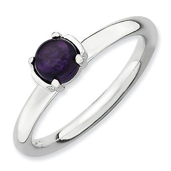 2.5mm Sterling Silver Prong set Rhodium-plated Stackable Expressions Polished Amethyst Ring - Ring Size: 5 to 10