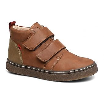 BOPY Boys Smart Brown Leather Boots With Strap Fastening