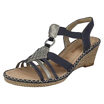 Ladies Remonte Elasticated Diamante Detail Wedge Sandal D6768