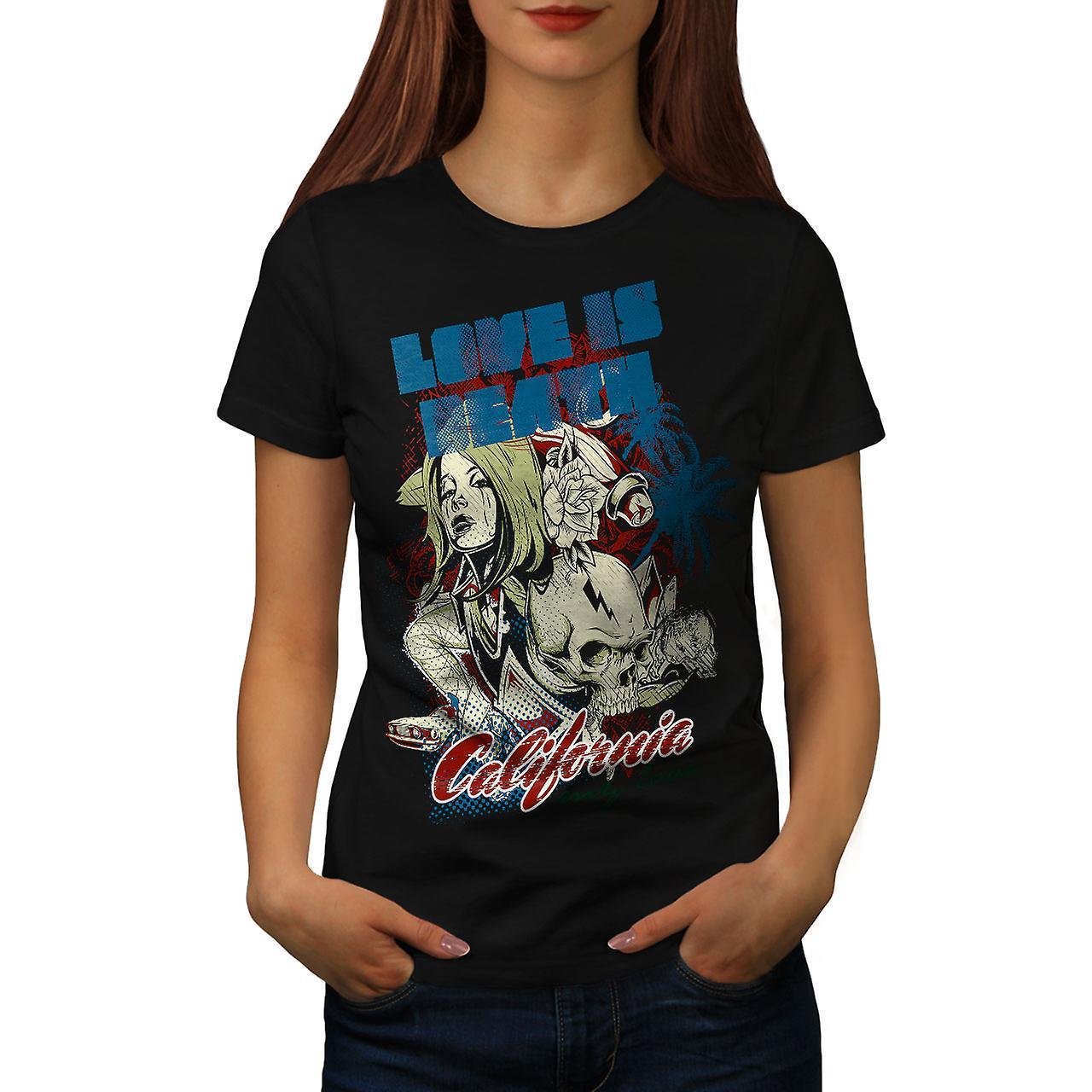 Love Is Death California Women Black T-shirt   Wellcoda