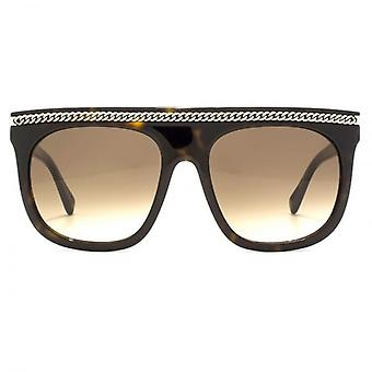Stella McCartney Falabella Flat Top Sunglasses With Detachable Falabella Neck Chain In Havana