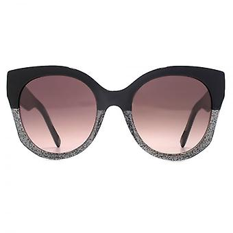 Marc Jacobs J Temple Cateye Sunglasses In Black Glitter