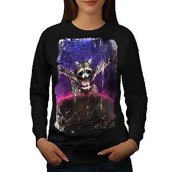 Racoon Cute Space Animal Women BlackSweatshirt | Wellcoda