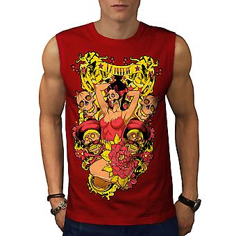 La Muerte Sexy Hot Men RedSleeveless T-shirt | Wellcoda