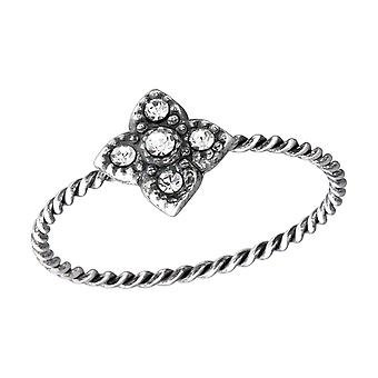 Flower - 925 Sterling Silver Jewelled Rings