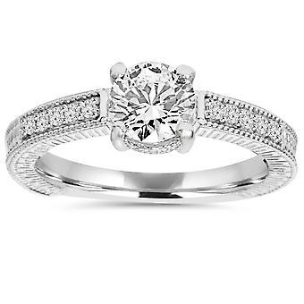 1ct Vintage Diamond Ring 14K White Gold