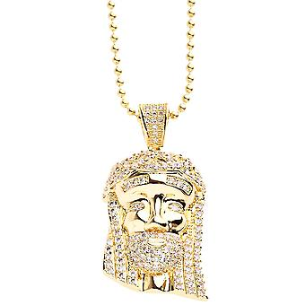 Iced out bling micro pave necklace - MINI JESUS II gold