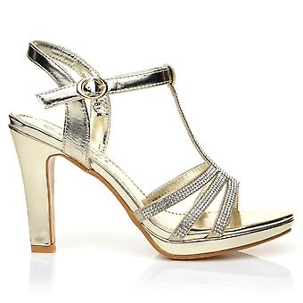 JADE Champagne Gold Diamante Encrusted PU Leather High Heel Platform T-Bar Sandals