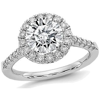 2.30 Carat (ctw) (2 1/2 Ctw. Look) Synthetic Moissanite Halo Engagement Ring in 14K White Gold