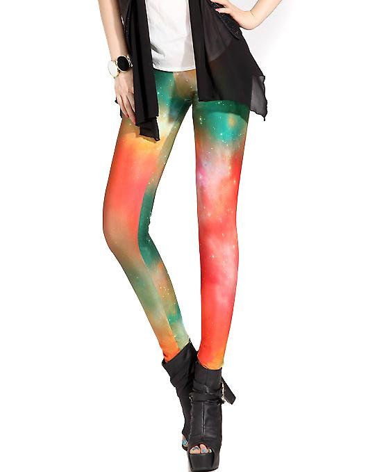 Waooh - Fashion - Leggings long fantasy - Red Green Galaxy