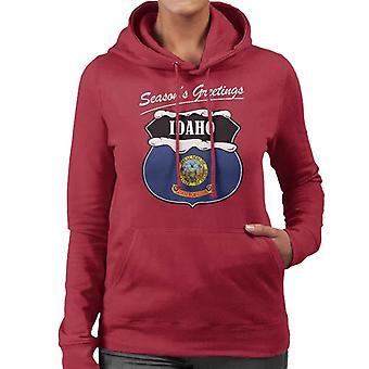 Seasons Greetings Idaho State Flag Christmas Women's Hooded Sweatshirt