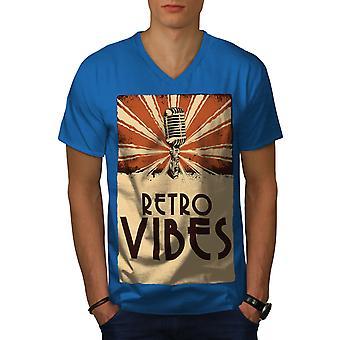 Retro Vibes Old Men Royal BlueV-Neck T-shirt   Wellcoda