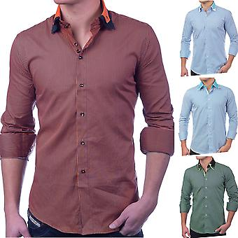 Men's long-sleeved button-down shirt poloshirt SlimFit Casual (different colors)