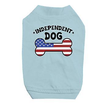 独立した犬シャツ スカイブルーかわいい小さなペット t シャツ 7 月 4 日