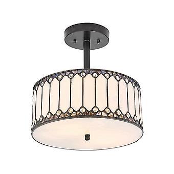 Interiör 1900 Fargo Cylinderical Amber Semi spola Tiffany taklampa