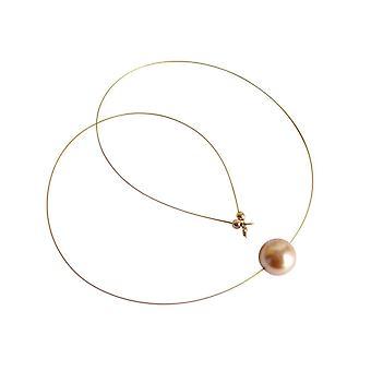 Gemshine - Damen - Halskette - Perle - Champagner - Vergoldet - 45 cm