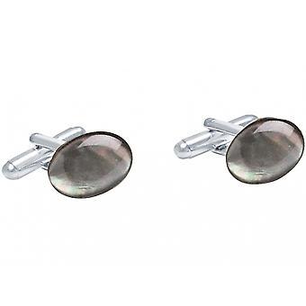 Gemshine - manschettknappar - 925 Silver - pärlemor - grå - 16 mm