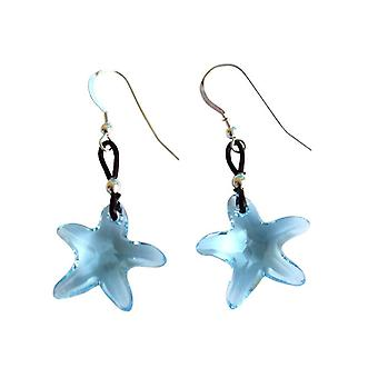 Ladies earrings Starfish * aquamarine * blue 925 Silver MADE WITH SWAROVSKI ELEMENTS® 2 cm
